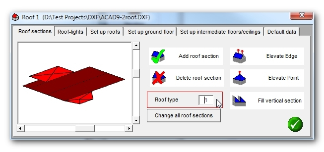 Cad model design adding different roof section types for Roof drawing software