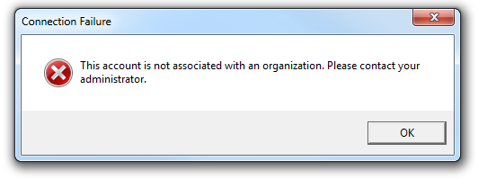 Error - This account is not associated with an organization