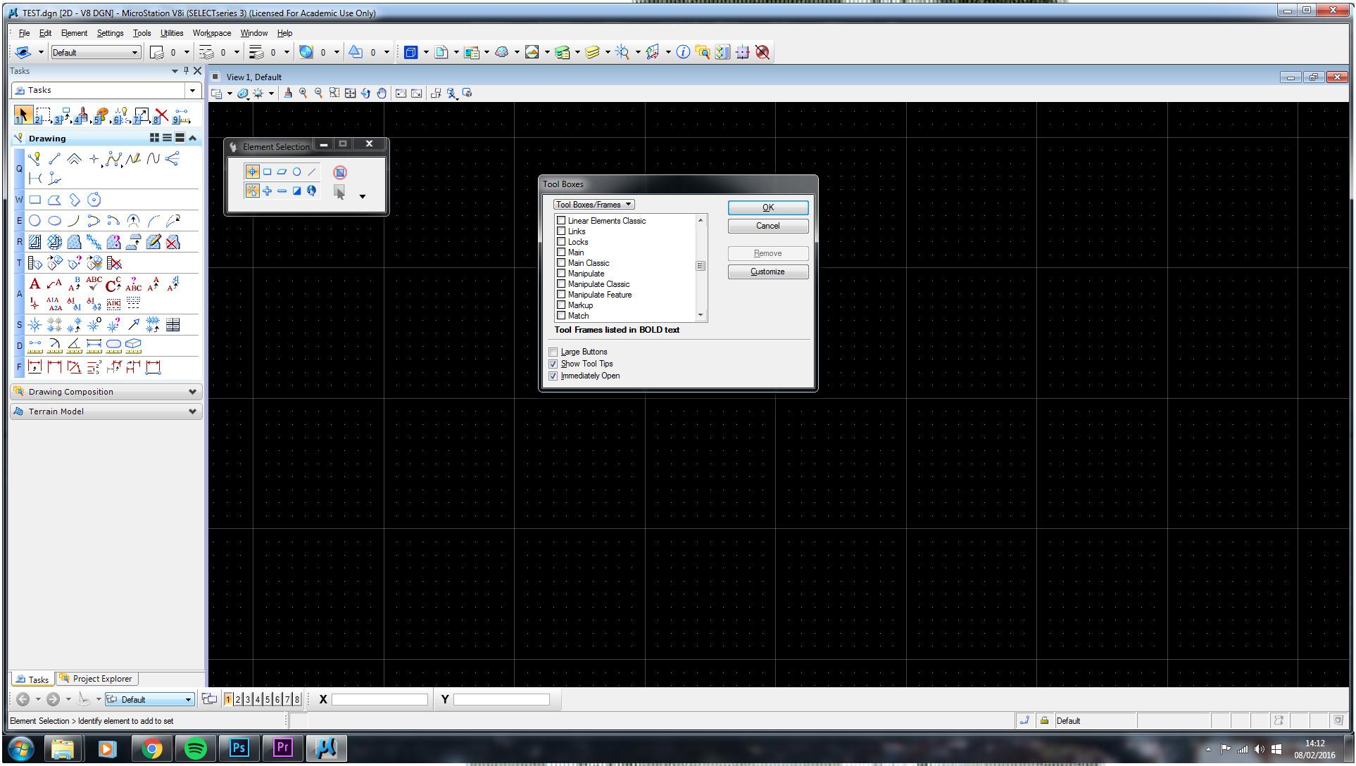 Solids Modeling Task Bar Not Appearing Microstation